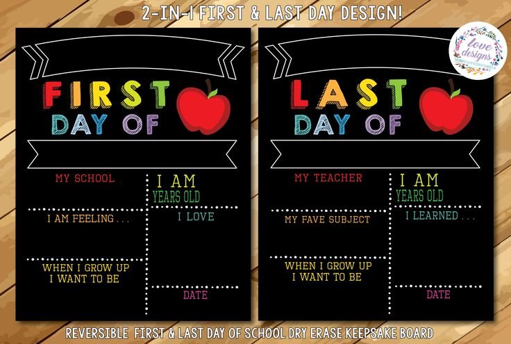 Reusable First and Last Day of School Board - Eco-friendly, Non Toxic, Waterproof, UV Protected, Double Sided, Reversible, Reusable, Chalkboard like, Dry erase, Liquid Chalk www.etsy.com/lovedesignsshop
