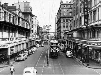 Eloff Street in the late 1950s before the trams were taken off the road.