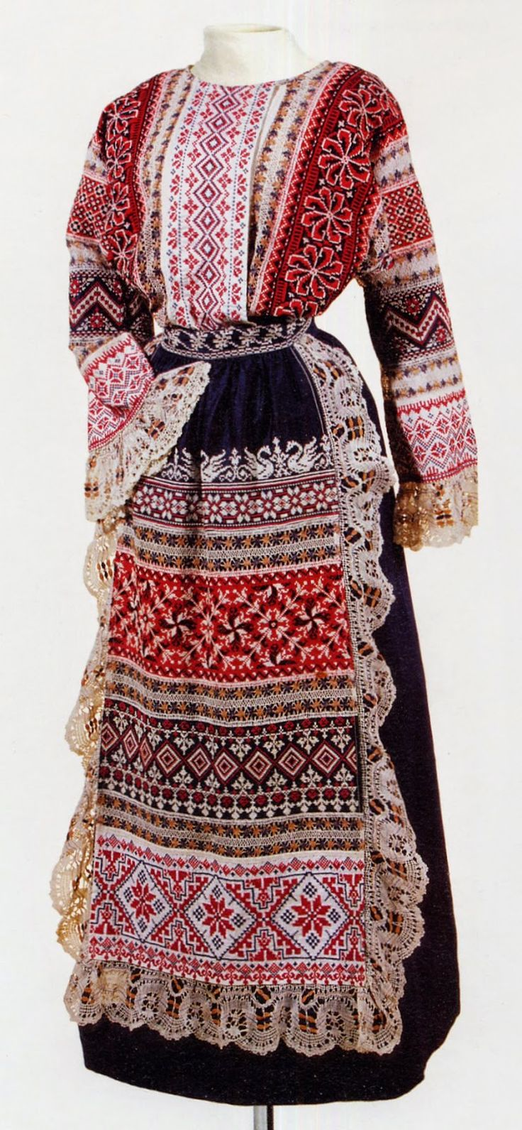 An example of a folk-style dress that was popular among Russian provincial ladies of the middle class in the late 19th – early 20th century.