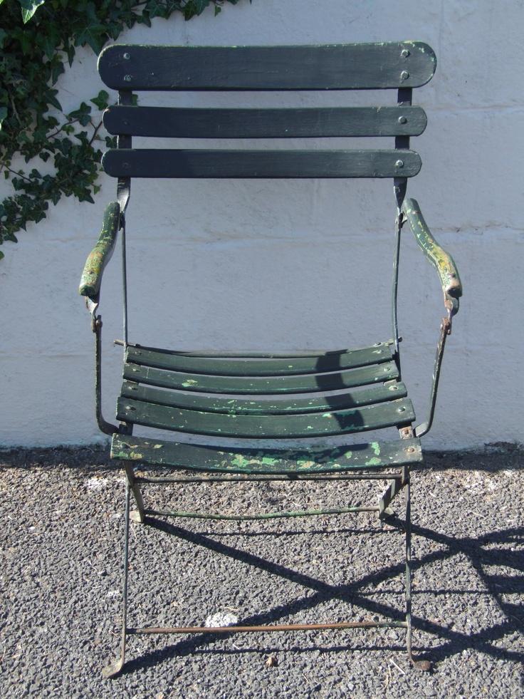G173 - Beautiful Vintage French Folding Garden / Café Chair With Arms - La Belle Étoffe