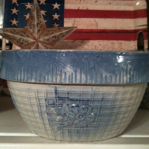 Old Blue Milk Crock...Americana style.