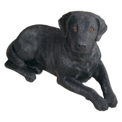 Sandicast Original Size Black Labrador Retriever Sculpture   Laying   OS380