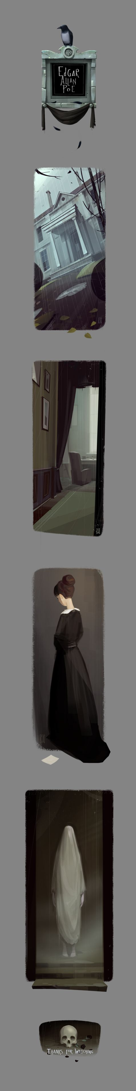Edgar Allan Poe illustrations by Denis Spichkin, via Behance