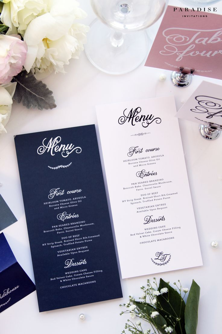 Laura Navy and White MENUS, Printable Menus or Printed Menus, Navy Elegant Menus, Wedding Table Stationery, Wedding Menu, Baptism Menu