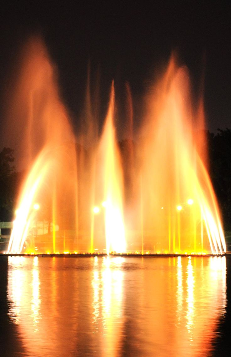 The dancing water in Parque Independencial  The waters brighten up the nights.  Santo Domingo DOMINICAN REPUBLIC.