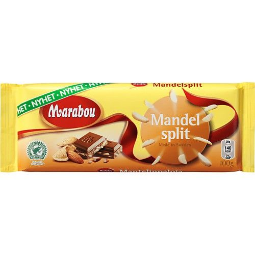 The classic Mandel Split is back! Appeared earlier in chocolate form in Paradis and Fortuna and is now found in chocolate cake with plenty of minced almonds.