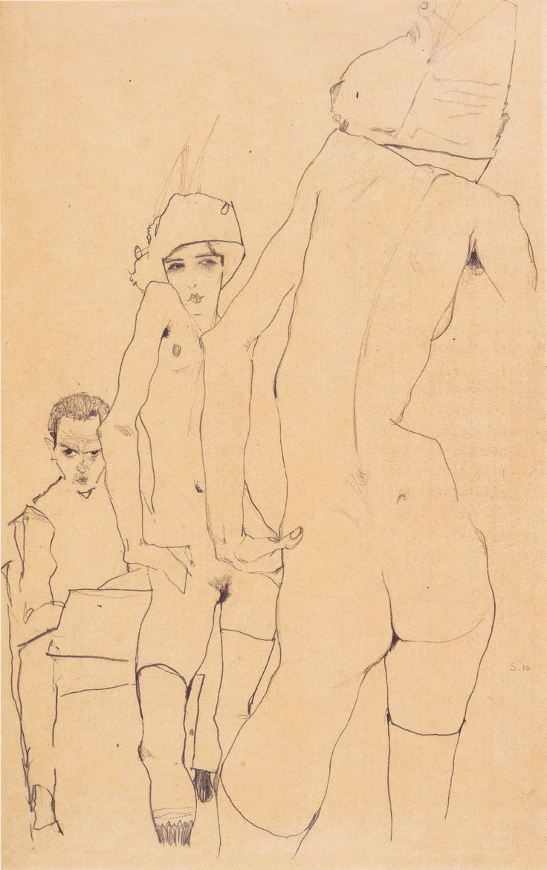Schiele mit Aktmodell vor dem Spiegel - 1910