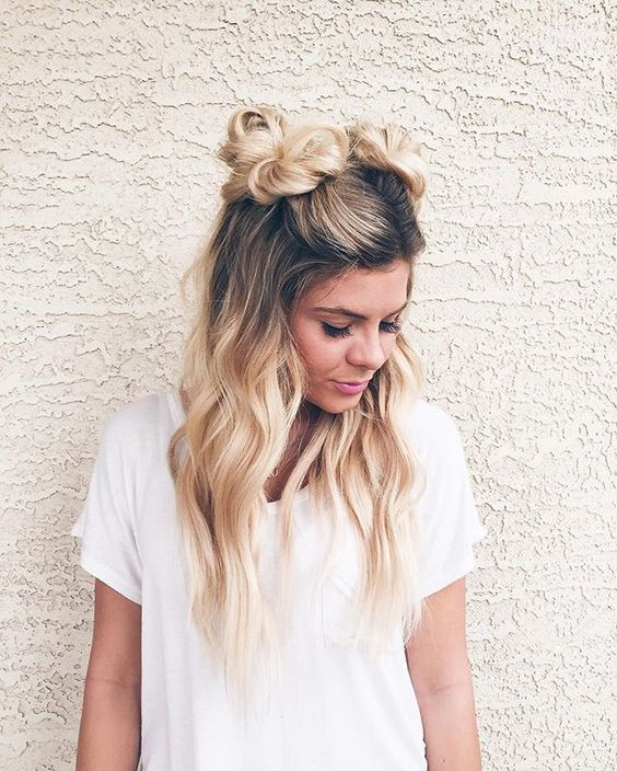 Cute Hairstyle With Space Bun, Try This On Summer