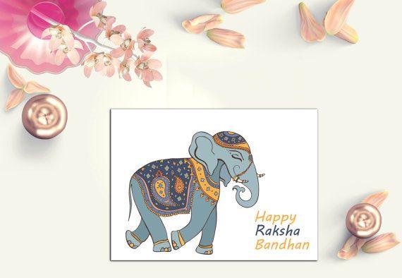Elephant Rakhi Card  Raksha Bandhan Card  by Firstblushdesignco