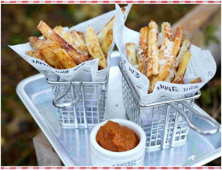 Trufas francesas con parmesano y salsa de tomate asado
