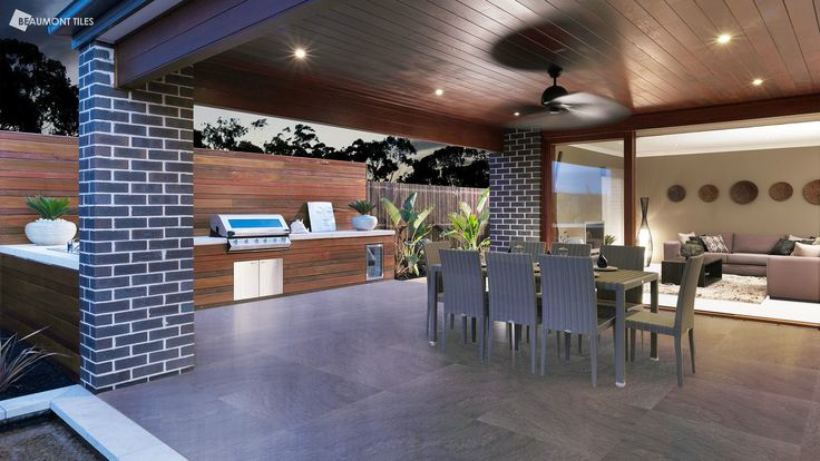 This gorgeous covered terrace features Mecca Slate Textured tiles to create a sleek outdoor living space. View our outdoor range here: http://www.beaumont-tiles.com.au/AllProducts.aspx?group=1&groupname=Tiles&catid=OUTD&catname=Outdoor%20Tiles