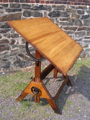 C1900 Oak and iron drafting table from the USA