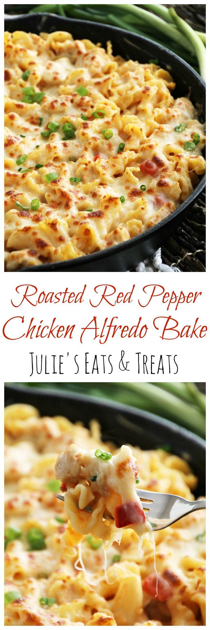 Red Pepper Chicken Alfredo Bake ~ Pasta Smothered in Light Roasted Red Pepper Sauce, Chicken & Cheese! ~ http://www.julieseatsandtreats.com