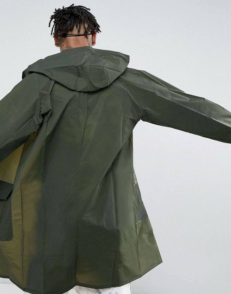Pull&Bear Waterproof Rain Jacket In Khaki - Green