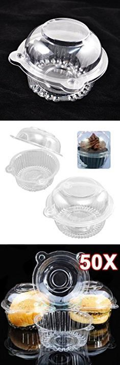 Clamshell Cupcake Containers. CTKcom Cake Container Icecream Container 50/100Pcs,Clear Plastic Cupcake (50).  #clamshell #cupcake #containers #clamshellcupcake #cupcakecontainers
