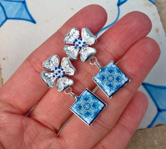 Portuguese tile replica small drop earrings Portuguese by XTory
