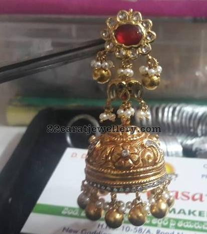 Kundan and Antique Jhumkas by Vasavi Jewels
