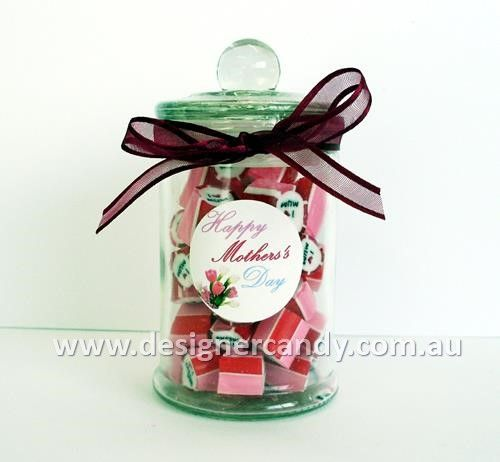 "These stunning 100g French Apothecary Jars filled with I Love Mum Candy are the sweetest way to say ""I Love You Mum"". With no minimum order, they are a great for Mother's Day gifts. I Love Mum Candy has pink and red stripes on the outside, with black text and a red love heart, and is strawberry & cream flavour – delicious! For more information visit: designercandy.com.au #designercandy #designer #candy #mothersday #mothersdaycandy #mothersdaygifts #ilovemum #giftsformum"