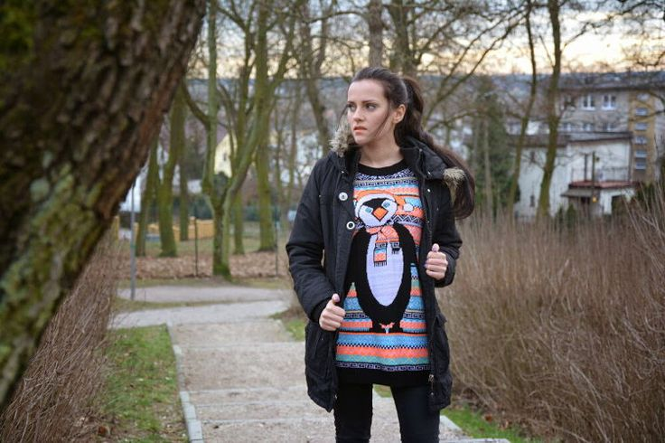 No snow for my pinguin – sweter z pingwinem