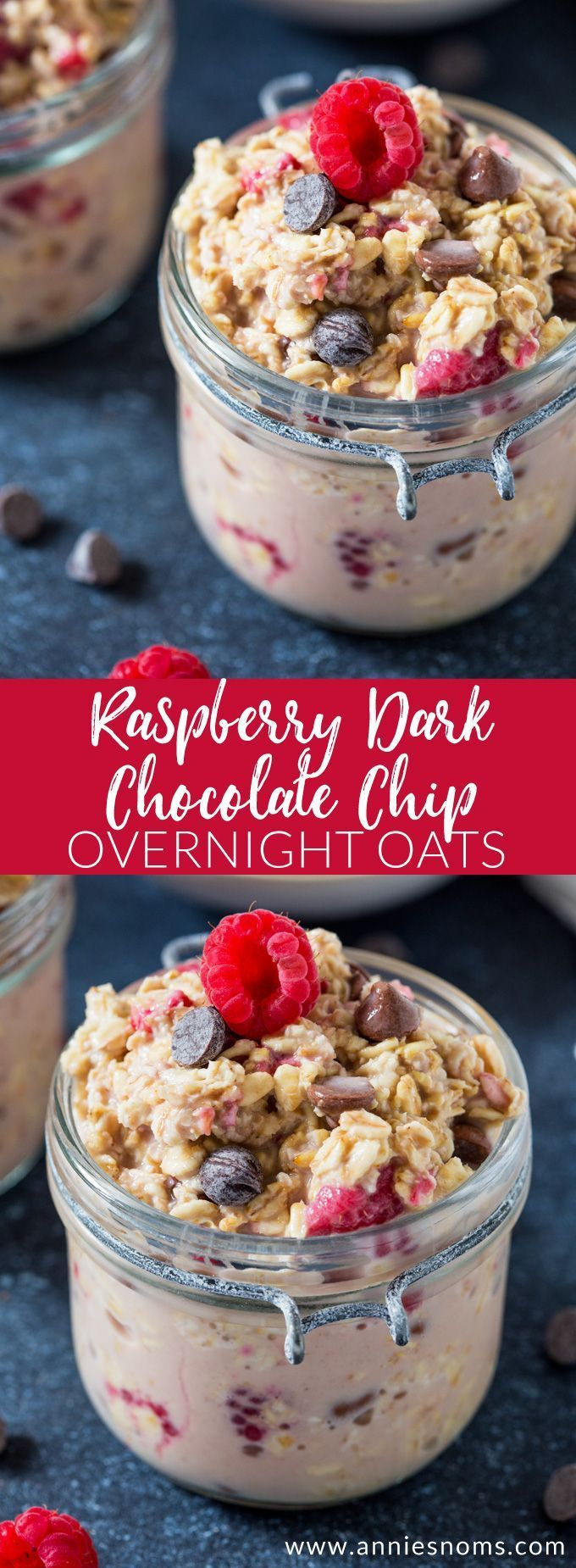 Thick and creamy overnight oats peppered with fresh raspberries and dark chocolate chips.