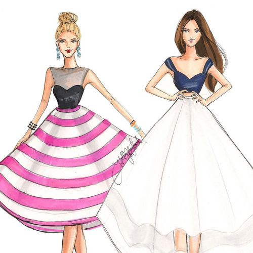 """""""Twirl"""" and """"Bliss"""", sketches by Holly Nichols."""