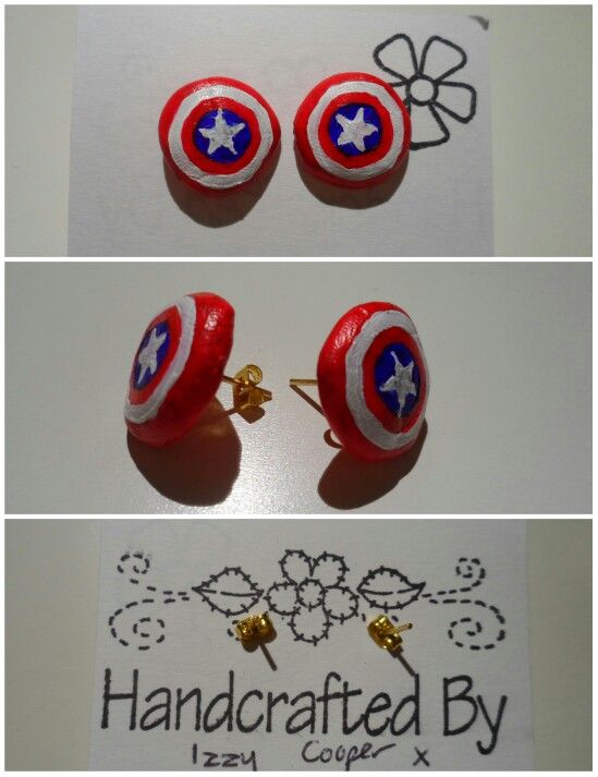 I made Captain America's shield studs. The shields are made of polymer clay.