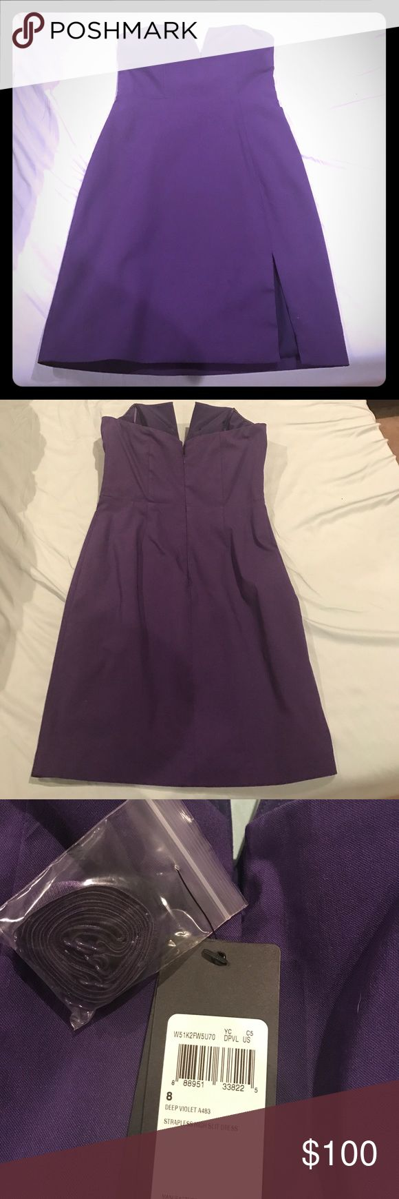 Purple Guess Dress Gorgeous Guess dress size 8, never worn, perfect for a night out of wedding! Got cups added to it but never worn! Guess Dresses Strapless