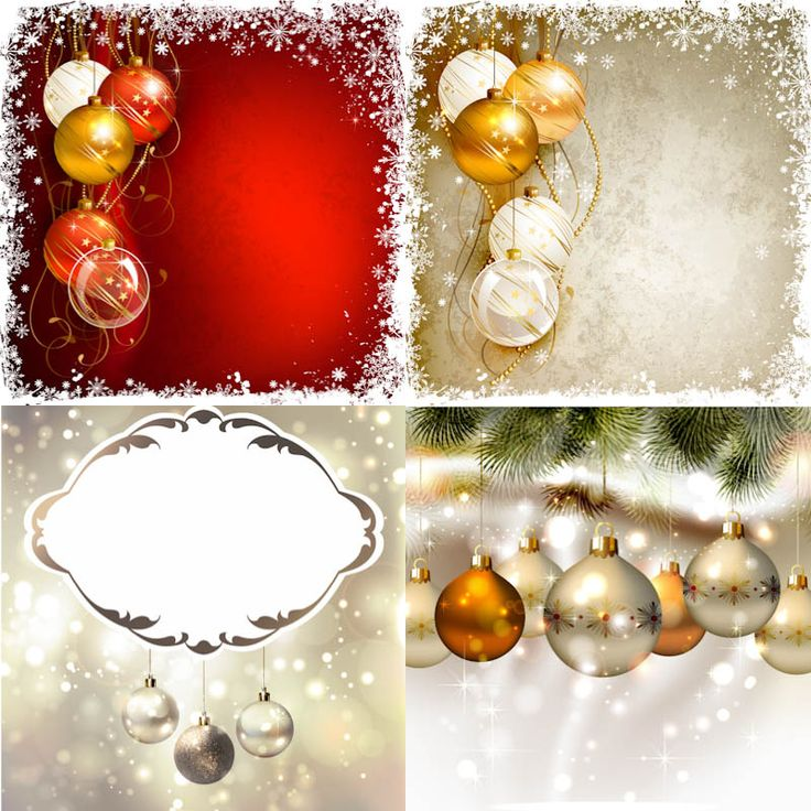 """Set of 4 vector decorative frosted Christmas backgrounds with frames, snow, snowflakes and ornaments for your card designs. Format: EPS stock vector clip art and illustrations. Free for download. Set name: """"Decorative frosted Christmas backgrounds"""" for Adobe Illustrator. Theme tags:…"""