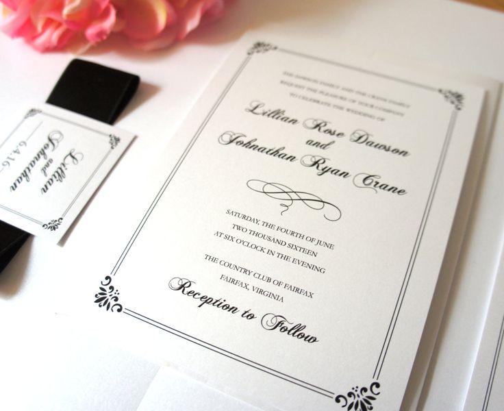 Classic Wedding Invitation, Formal Wedding Invitation, Belly Band, Black Wedding Invitation, Black and White Wedding Invite - DEPOSIT