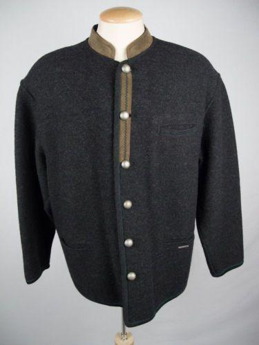 GEIGER Mens Boiled Wool Jacket 52 L Gray Austria Loden Trachten Hunting Coat