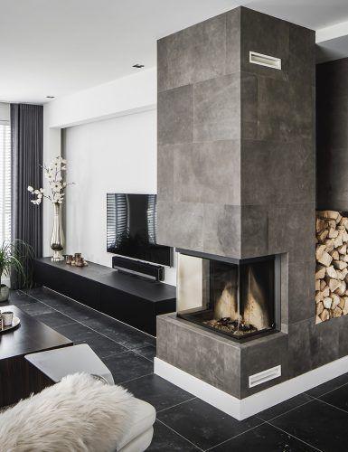 Luxe leren afwerking in moderne woonkamer
