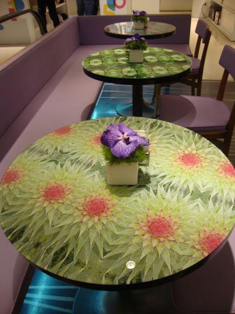 Tavolini al bar della Rinascente di Milano http://lefotodiluisella.blogspot.it/2015/06/verdure-e-fioricaleidoscopici.html