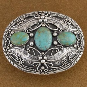Genuine Turquoise Sterling Silver Belt Buckle