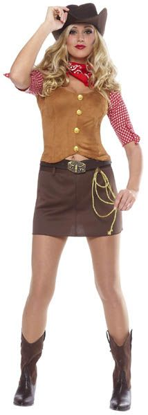 The Annie Oakley | Practice your sharp shooting (and sharp flirting) in this super cute Cowgirl Costume for women. $19.99 at Mallatts.com. #halloweencostumes #sexyhalloweencostumes #halloweencostumesforwomen