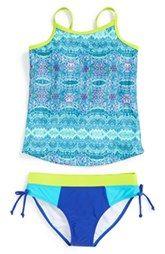 Limeapple 'Maldive' Print Two-Piece Tankini Swimsuit (Big Girls)