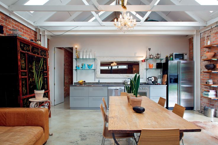 A simple, industrial-style kitchen was chosen for its minimal look.