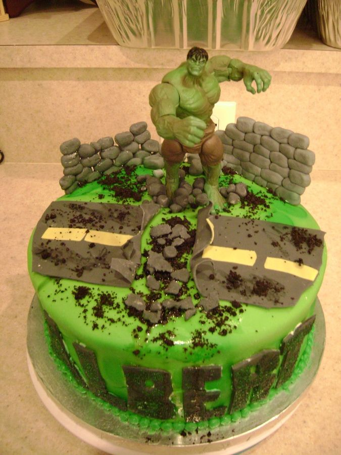 Hulk Smash Birthday cake I made for my nephew's 5th Birthday!  Everything except the Hulk are made from MM Fondant!