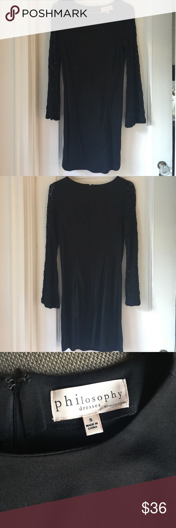 Lace long-sleeved Philosophy dress Philosophy dress, black with lace long bell sleeves. Stretchy fabric makes this dress very comfortable! Never worn and in excellent condition! Philosophy Dresses Long Sleeve