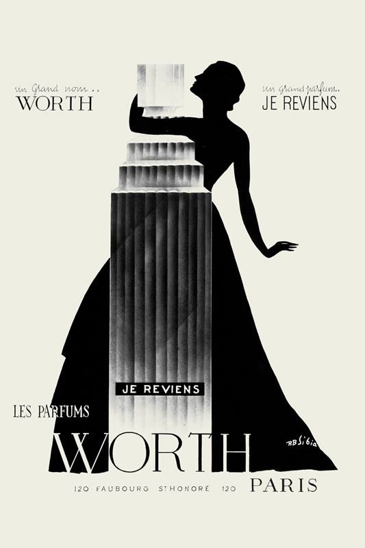 AMAZING PERFUME ADS FROM THE PAST:    JE REVIENS by WORTH (~1953)    This powdery classic from 1932 was created by perfumer Maurice Blanchet. The original bottle was designed by Lalique. The artwork from this super elegant ad from the early 50ies is by R.B. Sibia.