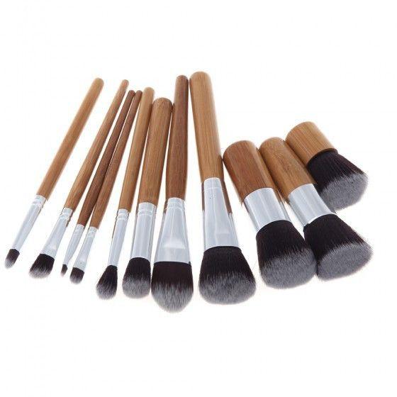 11 Pcs madeira Handle maquiagem cosméticos Eyeshadow fundação Concealer jogo de escova escovas de beleza alishoppbrasil