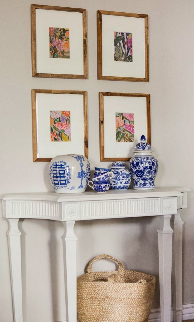 blue and white pottery grouped together, floral Lulie Wallace calendar prints from Anthropologie on white matted backgrounds in Target Threshold wood frames: