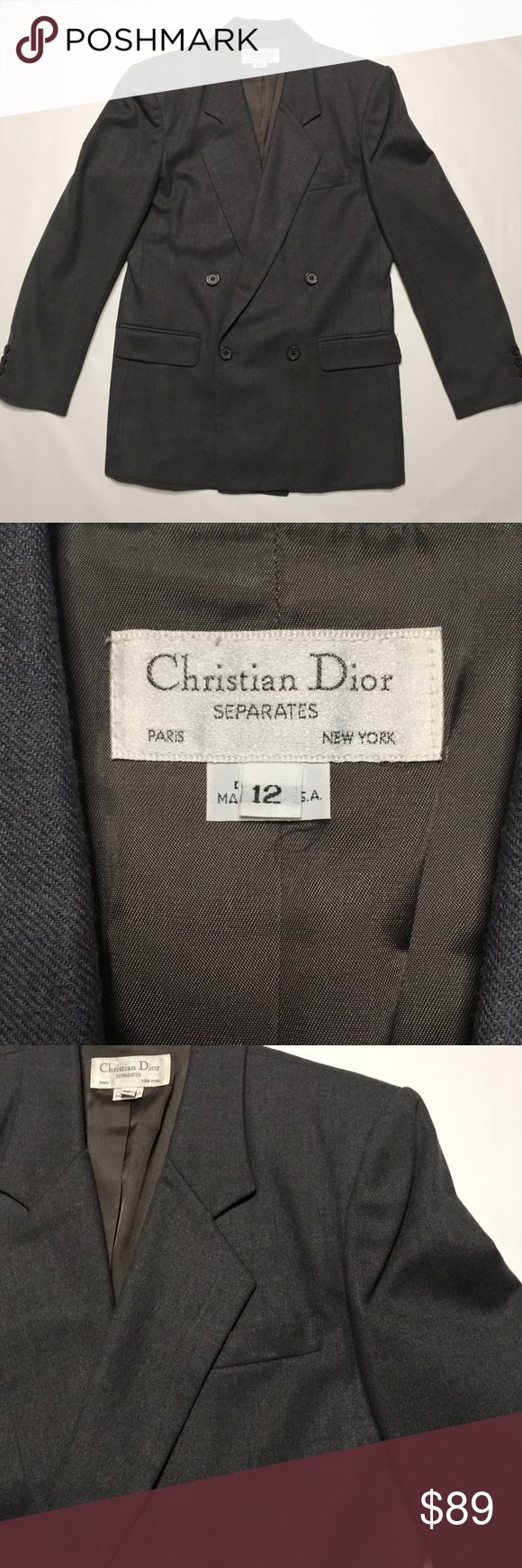 Vintage Christian Dior Gray Blazer EUC 1980's wool Christian Dior suit separate blazer. Sz 12. Gray. Measurements available upon request. Christian Dior Jackets & Coats Blazers