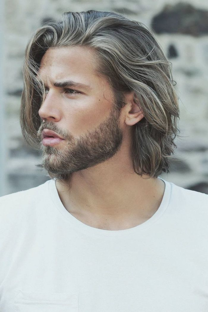 Blonde Hair Long Hairstyles For Guys White Shirt Beard Blurred Background In 2020 Medium Length Hair Styles Medium Length Hair Men Medium Hair Styles