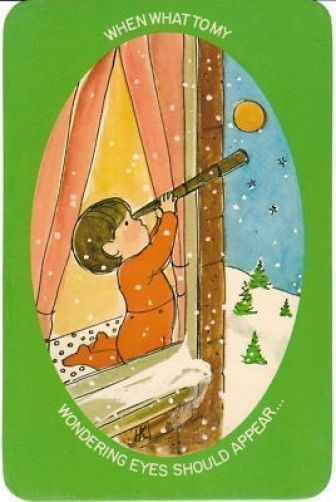 Vintage postcard - little boy uses a telescope to look for Santa Claus* 1500 free paper dolls toys at Arielle Gabriels The International Paper Doll Society Christmas gift for Pinterest pals also free Asian paper dolls The China Adventures of Arielle Gabriel Merry Christmas to Pinterest users *