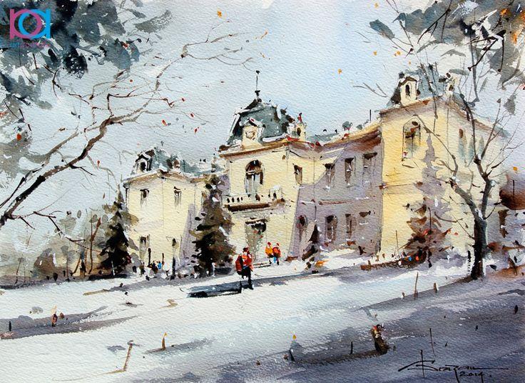 Corneliu Drăgan-Târgoviște - Muzeul Judeţean Olt / Olt County Museum, 35 x 26 cm, acuarelă / watercolour