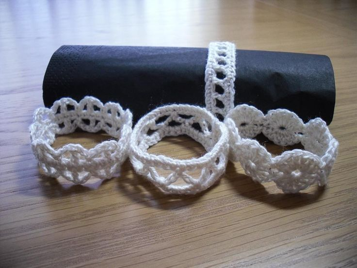 Crochet de servilleta de mesa anillos juego de 4