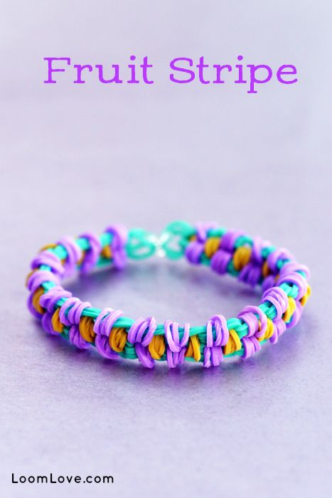 How to Make a Fruit Stripe Bracelet  - Rainbow Loom video tutorial