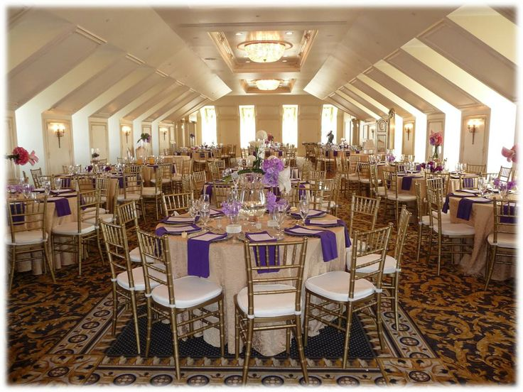 Purple Gold The Hall Gardens At Landmark Wedding Reception Garner Nc The Hall