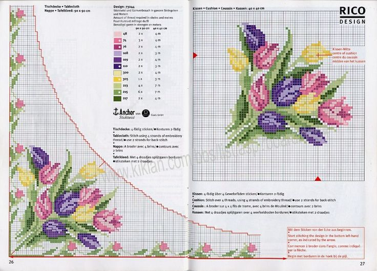 Cross-stitch Tulips Corner Border...   Gallery.ru / Фото #14 - 11 - gipcio