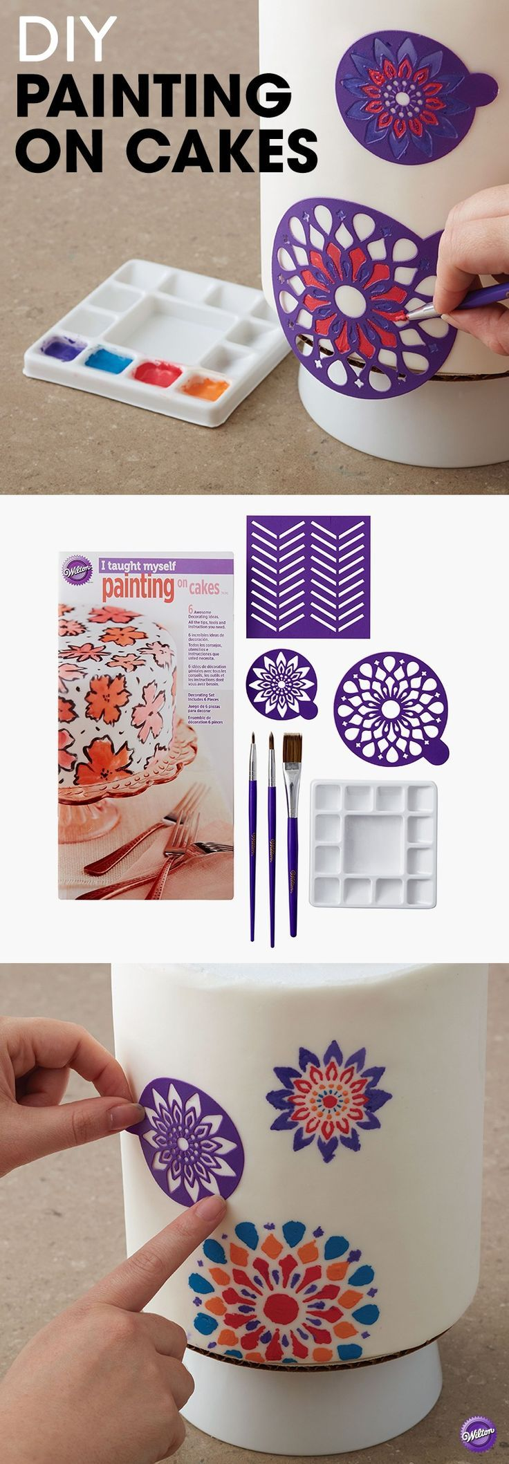DIY Painting on Cakes - Love the artistry of a beautifully decorated cake? Learn how to do it yourself with this step-by-step guide on painting cakes. It gives you complete instructions along with color photos to teach you how to use decorating brushes, stencils and icing colors to create unique designs on cakes and cookies.